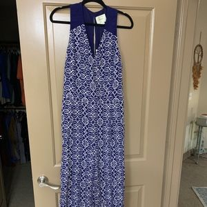 Blue and white Anthropologie jumpsuit